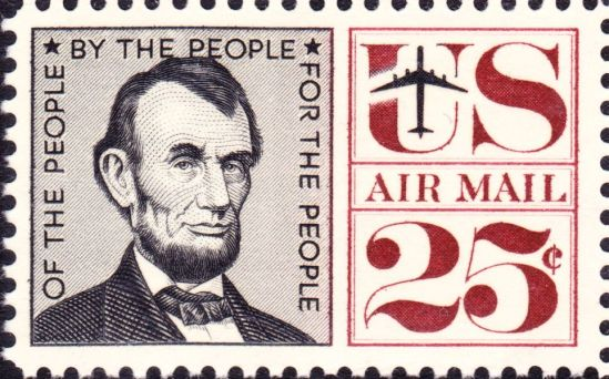 Abraham_Lincoln_Airmail_1960_Issue-25c